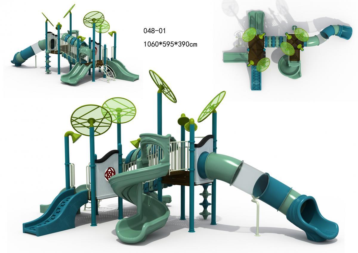048-01江南风光配色主题儿童滑梯组合