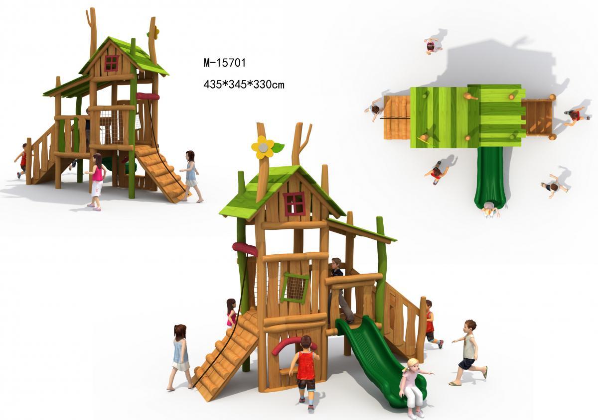 M-15701户外木质组合滑梯