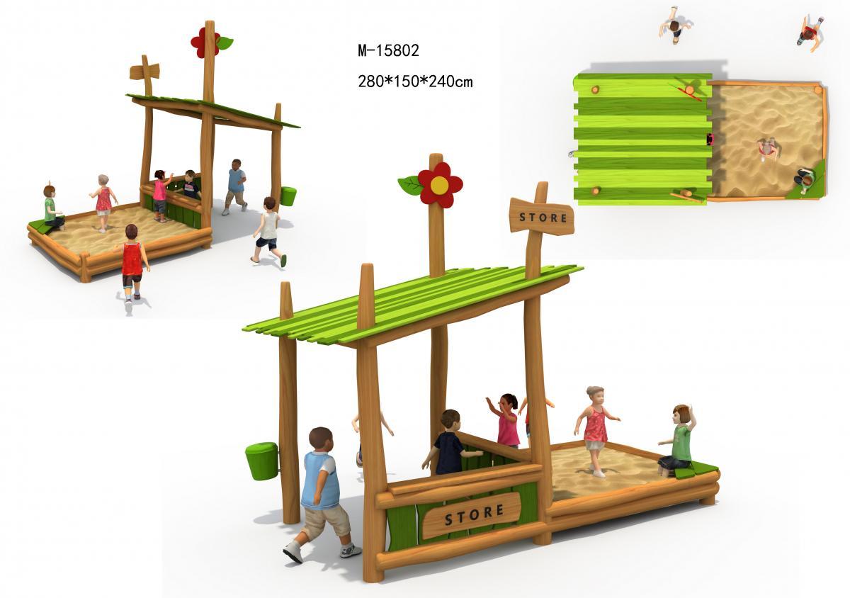 M-15802自然沙池屋木质