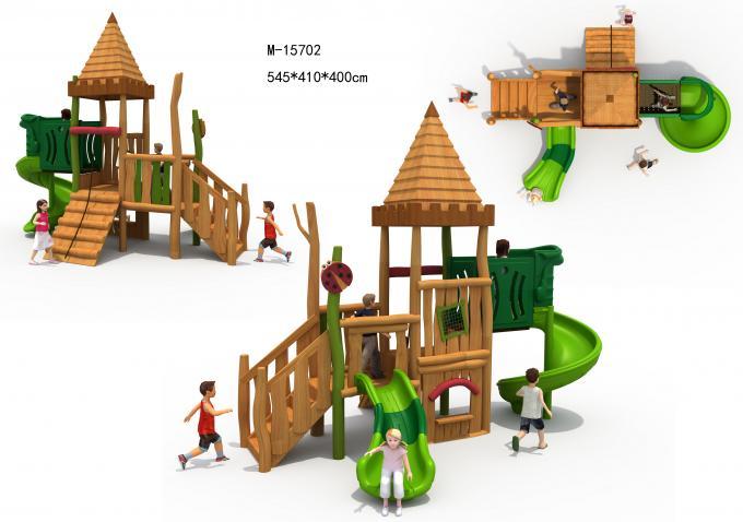 M-15702木质幼儿园户外滑梯组合