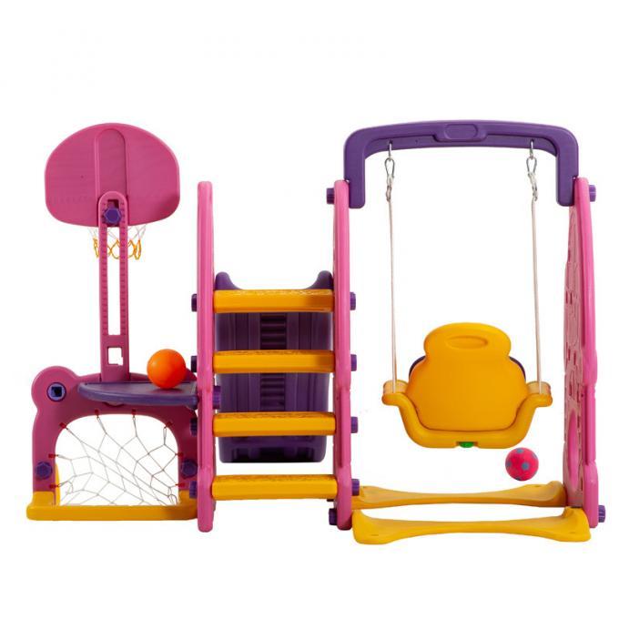 粉兔滑梯六合一篮球 组合滑梯 秋千游乐 儿童塑料滑滑梯